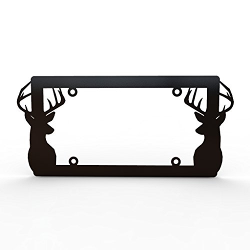 deer-antlers-hunting-black-powdercoat-license-plate-frame-cover-ferreus-industries-lic-153-black