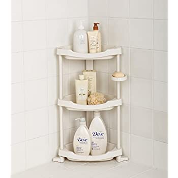 Tenby Living Corner Shower Caddy - 3 Shelf Shower Organizer Caddie with Movab...