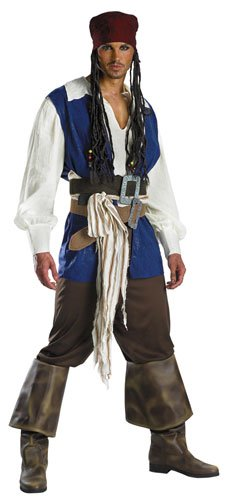 Disguise Men's Disney Pirates Of The Caribbean Captain Jack Sparrow Classic Costume, Brown/Blue White, Medium