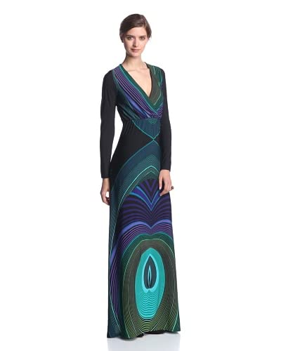 Melissa Masse Women's Long Sleeve Maxi Dress  [Jade Black Abyss]