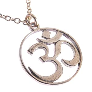Delicate Om Peace Bronze Pendant Necklace on 18