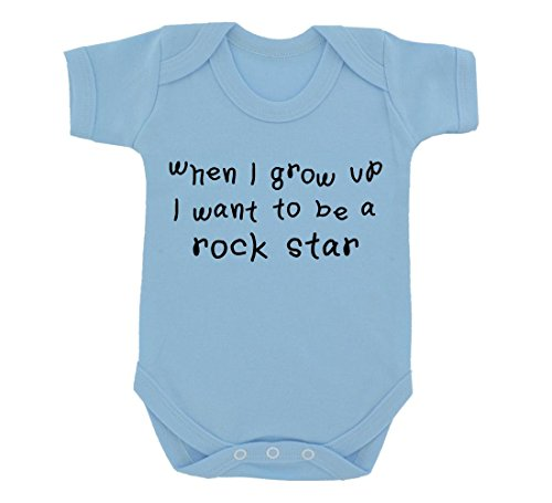 Quando i crescere i want to be a Rock Star Design Baby Body Cielo Blu con stampa nero Sky Blue 6-12 Mesi