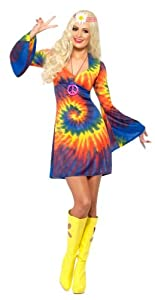 Smiffy's 1960s Tie Dye Costume Dress, Multi, Small