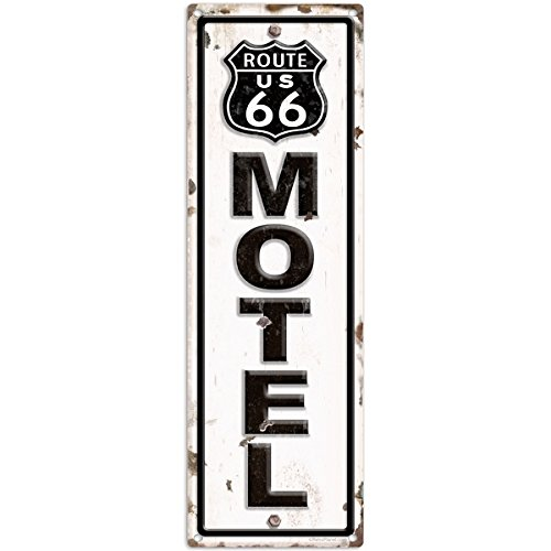 route-66-motel-distressed-metal-road-sign-hotel-wall-decor-6-x-18