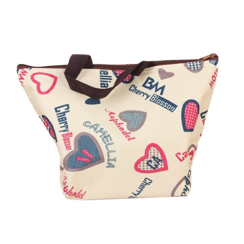 Lunch Box Bag Tote Insulated Cooler Carry Bag for Travel Picnic - Heart Pattern