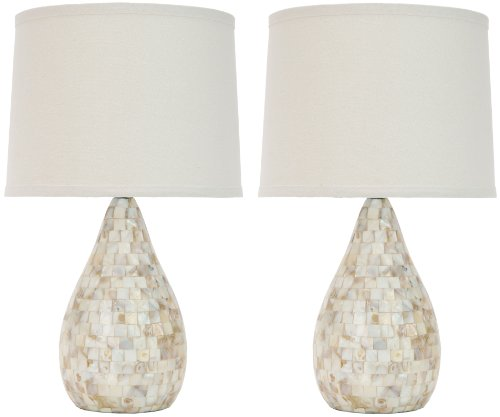 Safavieh Lighting Collection Amanda Mother Of Pearl Sea Shell Inlay Table Lamps, Set Of 2