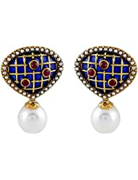 Gehnamart Yellow Gold Plated Imitation Pearl And Ruby Designer Stud Earring