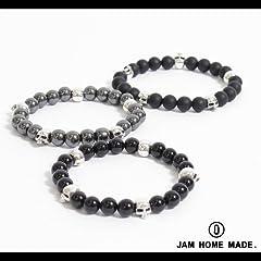 【JAM HOME MADE(ジャムホームメイド)】スカル数珠ブレスレットONEサイズhematite