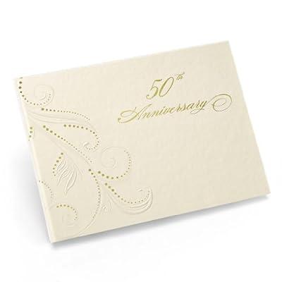 Hortense B. Hewitt Wedding Accessories 50th Anniversary Swirl Dots Guest Book, Ivory