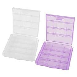 2 Pcs Clear Purple Plastic Case Storage Box for AA AAA Batteries
