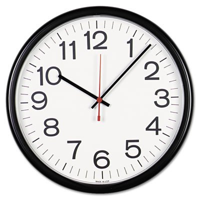 "Universal Indoor/Outdoor Clock, 13-1/2"", Black, Case of 2"