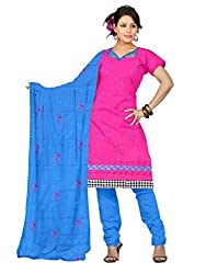 Parinaaz Fashion Rani Cotton Straight unstitched salwar suit