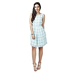 Eavan Women's Casual Wear Light checkered Polyester Dress