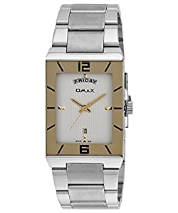 OMAX Men's Analog Day And Date Stainless Steel Watch White - SS392
