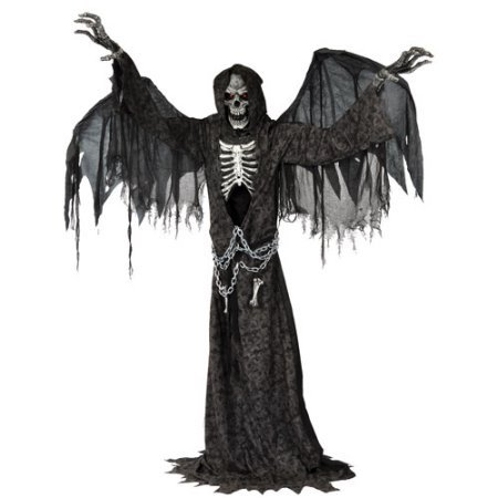 [Angel of Death Life Size Animated Halloween Prop 24.00 x 16.00 x 12.00 Inches] (Light Up Angel Wings)