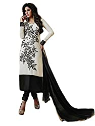 1 Stop Fashion Express your style with this eye catching attire. Black & White Color Georgette Dress fabric looks Completely Amazing. Black color santoon bottom and Black Chiffon dupatta is arranged with this apperal.Thread Embroidery work is beautifully designed on this Dress material. Accessories shown in the image are for photography purpose. (Slight color variation is possible)