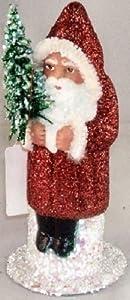 Ino Schaller Paper Mache Red Glitter Santa with Tree