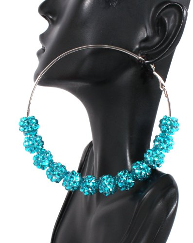 Basketball Wives Turquoise Shamballah 3 Inch Hoop Earrings with 12 Disco Balls Poparazzi