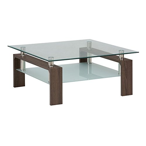 Jofran Compass Glass Square Coffee Table in Chrome and Wood
