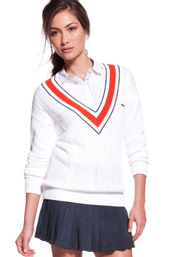 Long Sleeve Cotton Cable Knit Tipped V-neck Sweater
