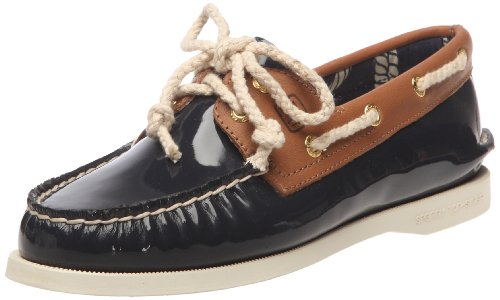 SPERRY A/O 2 EYE NAVY PATENT/TAN WOMENS BOAT SHOES Size 7.5M