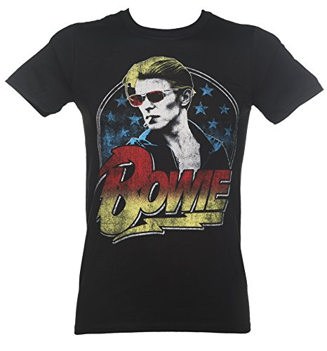 David Bowie Official Da Uomo Da Donna Maglietta Nuova Fumare Ziggy Starman Nero Maglietta - cotone, Nero, 100% cotone, Uomo, M 38-40