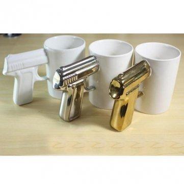 Pistol Cup Handle Cup Gun Handle Coffee Cup Ceramic Mug - White