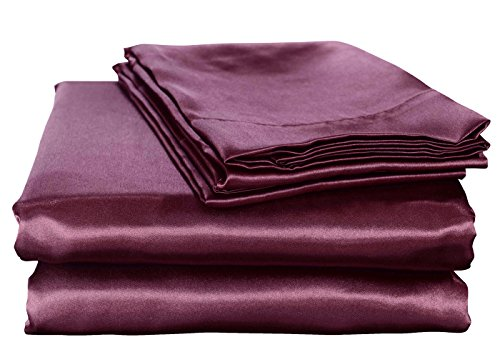 Honeymoon Luxury Satin Bed Sheet Set, Ultra Silky Soft, Queen - Purple (Purple Satin Sheets compare prices)