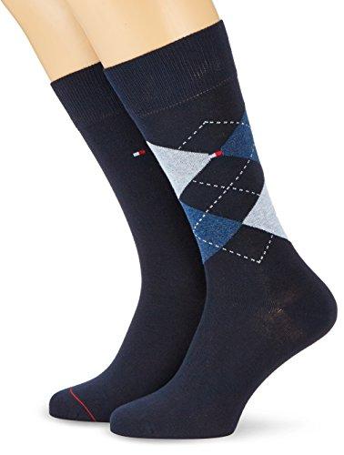 2 pairs TOMMY HILFIGER Men's Check Socks Gr. 39 - 46 Business sneaker socks, Blu (Bleu (Midnight Blue)), 39-42