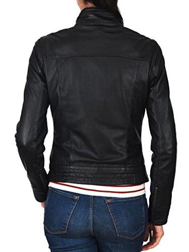 Exemplar Women's Genuine Lambskin Leather Moto Jacket Black LL932 L