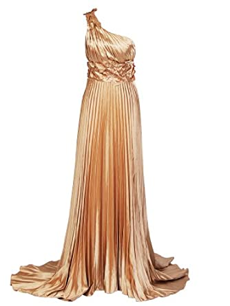Artwedding One Shoulder Pleated Column Formal Evening Elastic Satin Dress with Sweep Train,Gold(as picture),26
