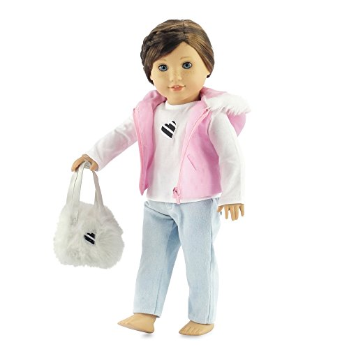 18 Inch Doll Clothes Pink Puffy Jacket Outfit | Clothing Fits American Girl Dolls | Includes Tee, Skinny Jeans & Purse