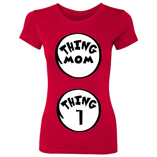 [ZEXPA Thing Mom - Thing 1 Women's T-shirt Halloween Costume Customizable Tell You Are Pregnant Shirts Tee Red] (Mom Dad And Child Halloween Costumes)