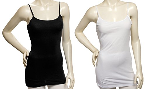 Zenana Women's Tank Top Camisole with Built in Bra and Adjustable Straps,Medium,2pk Black, White