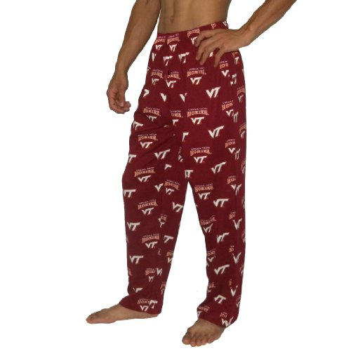 Mens NCAA Virginia Tech Hokies Winter Cotton Sleepwear / Pajama Pants - Dark Red