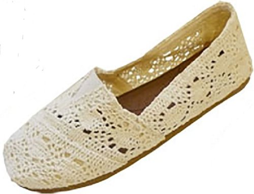 Womens Canvas Crochet Slip on Shoes Flats 5 Colors