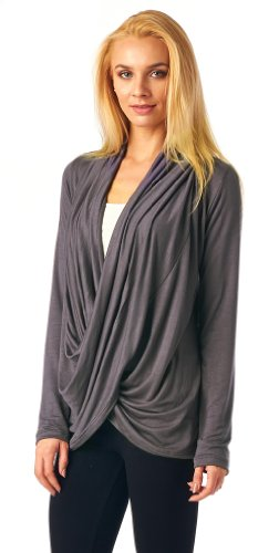 Popana Criss Cross Cardigan - XL Slate Made In USA