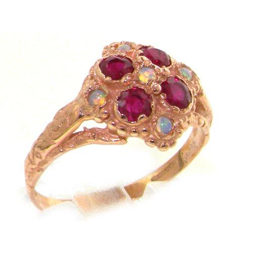 英国製 K9 ピンクゴールド 天然 オパール ルビー レディース アンティークスタイル クラスター 華奢 リング 指輪 サイズ 10 各種サイズあり