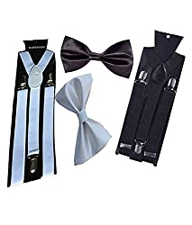 Sunshopping unisex white and black stretchable suspenders with bow combo (r-241) (Multi-Coloured)