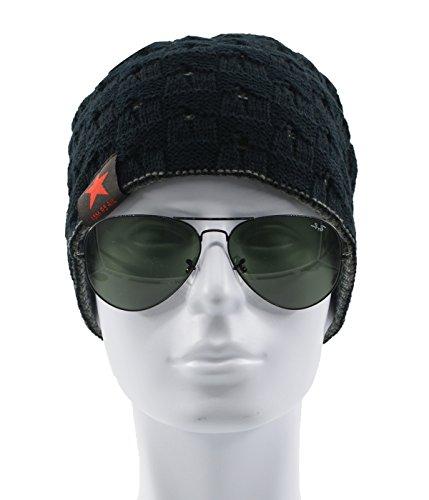 Century Star Red Star Warm Hat Mens Fashion Knit Winter Outdoor Beanie Cap Black