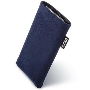fitBAG Classic Blau Handytasche Tasche aus original Alcantara mit Microfaserinnenfutter für HTC One X