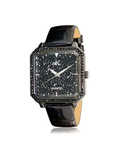 Adee Kaye Women's AK9112-LIPB Stars Collection Crystal & Black Leather Watch