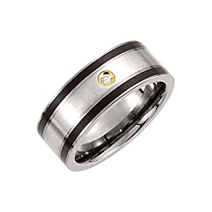 Titanium, Sterling Silver Inlay, Black Enamel & 14kt Gold Plate 9mm .06 CTW Diamond Band Size 8