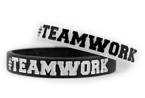 #TEAMWORK Inspirational Rubber Band Bracelets Silicone Wristbands Custom. Perfect for Football, Basketball, Team Sports & Office Environment. In Black and White Color. (Custom Rubber Wristbands compare prices)