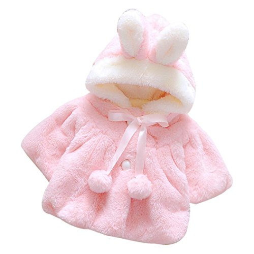 GBSELL Baby Infant Girls Fur Rabbit Hat Winter Coat Cloak Jacket Thick Warm Clothes (Pink, 12M)
