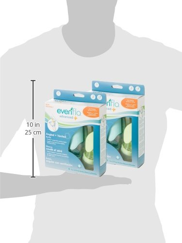 Evenflo Feeding Advanced Angled Vented Bottles, 9 Ounce (Pack of 6)