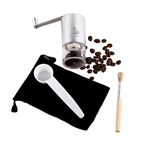 Manual Coffee Grinder with Ceramic Burr - High Quality Hand Coffee Burr Hand Coffee Mill with Precision Conical Burr, Adjustable, Portable,Aluminium Alloy
