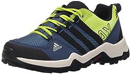 adidas Outdoor AX2 Hiking Shoe (Little Kid/Big Kid), Semi Solar Slime/Shock Blue/Black, 2.5 M US Little Kid