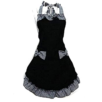 New 2016 Cute Bib Apron Dress Flirty Vintage Kitchen Women Bowknot With Pocket Gift