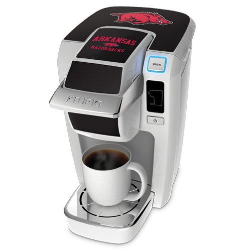 Keurig K10 White Mini Plus Single Cup Personal Brewer With University Of Arkansas Decal Kit front-606614